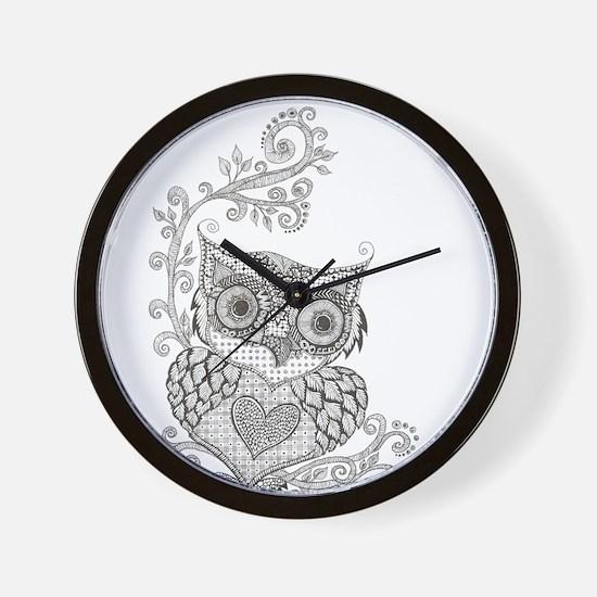 Cute White owl Wall Clock