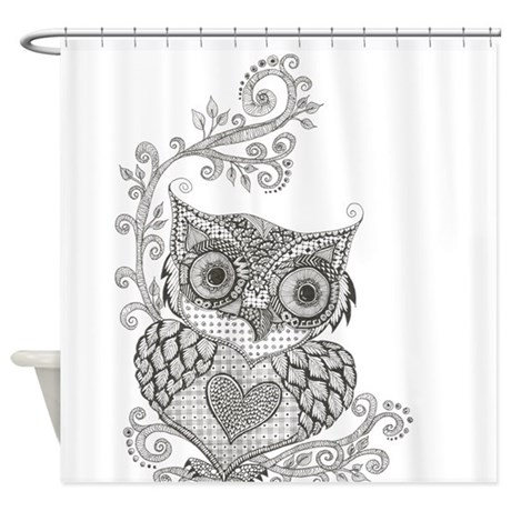 Black White Owl Shower Curtains Black White Owl Fabric Shower