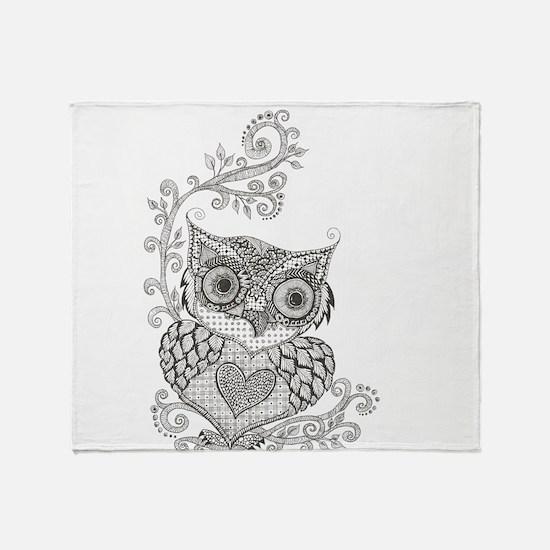 Cute White owl Throw Blanket