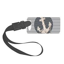 grey nautical stripes anchor Luggage Tag