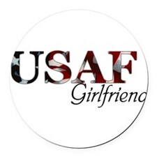 Girlfriend USAF_flag .png Round Car Magnet