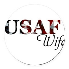 Wife USAF_flag .png Round Car Magnet