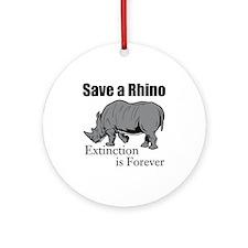 Save A Rhino Round Ornament