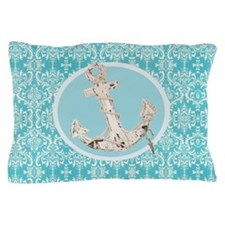 turquoise damask nautical anchor Pillow Case