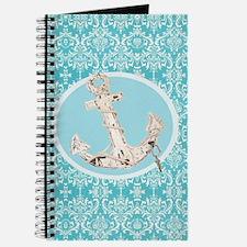 turquoise damask nautical anchor Journal