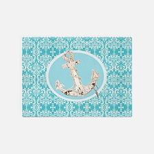turquoise damask nautical anchor 5'x7'Area Rug