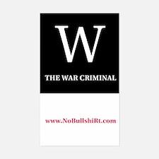 W The War Criminal Bumper Decal