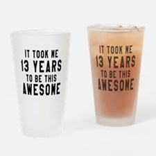 13 Years Birthday Designs Drinking Glass