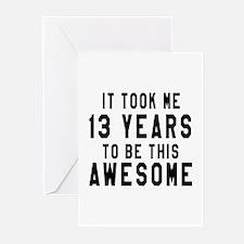 13 Years Birthday Design Greeting Cards (Pk of 10)