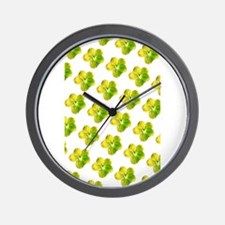 Yellow Floral Mirage Hodge's Fave Wall Clock