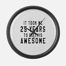 25 Years Birthday Designs Large Wall Clock