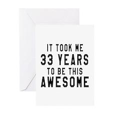 33 Years Birthday Designs Greeting Card