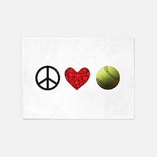 Peace Love Softball 5'x7'Area Rug