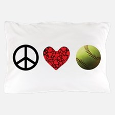 Peace Love Softball Pillow Case