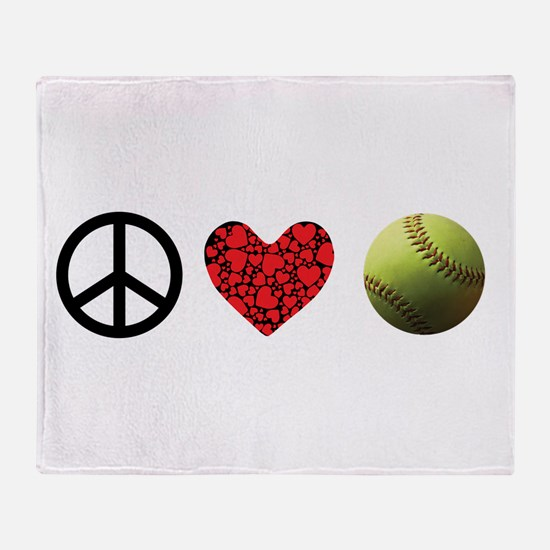 Peace Love Softball Throw Blanket