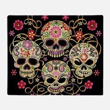 Sugar Skulls III Throw Blanket