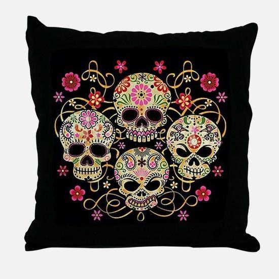 Sugar Skulls III Throw Pillow