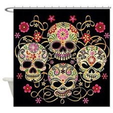 Sugar Skulls III Shower Curtain