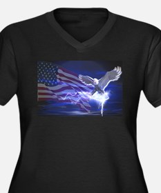 Eagle Storm Women's Plus Size V-Neck Dark T-Shirt