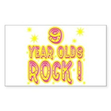 9 Year Olds Rock ! Rectangle Decal