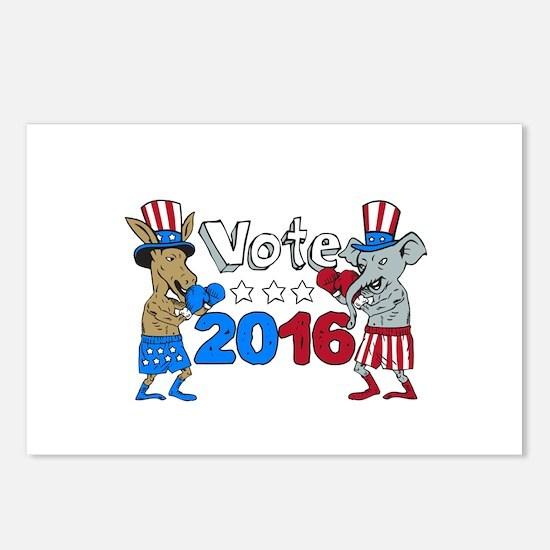 Vote 2016 Donkey Boxer and Elephant Mascot Cartoon