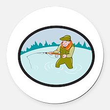 Fly Fisherman Casting Fly Rod Oval Cartoon Round C