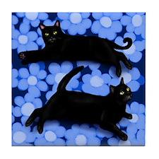 BLACK CATS blue flowers duvet Tile Coaster
