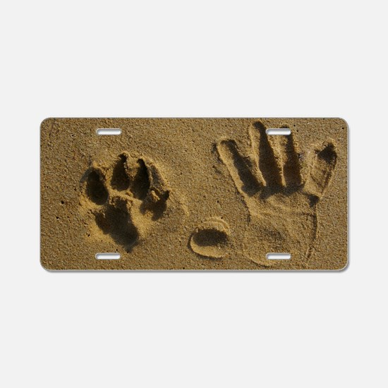 Cute Pawprint Aluminum License Plate