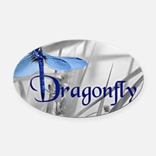 Blue Dragonfly Oval Car Magnet