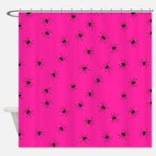 psychobilly pink spiders Shower Curtain
