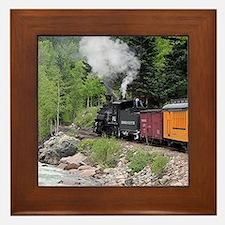 Steam train & river, Colorado Framed Tile