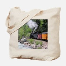 Steam train & river, Colorado Tote Bag