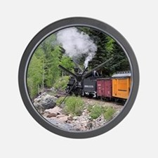 Steam train & river, Colorado Wall Clock