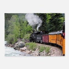Steam train & river, Colorado 5'x7'Area Rug