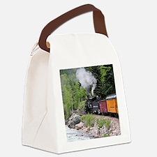 Steam train & river, Colorado Canvas Lunch Bag
