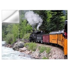 Steam train & river, Colorado Wall Decal