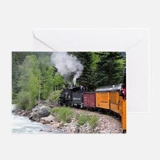Steam train & river, Colorado Greeting Card