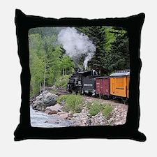 Steam train & river, Colorado Throw Pillow