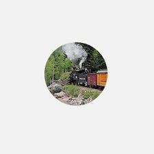 Steam train & river, Colorado Mini Button