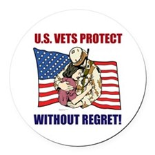 Vets Protect Round Car Magnet