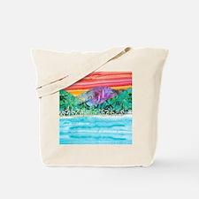 Hanalei Bay Coral Sky Sunset Tote Bag