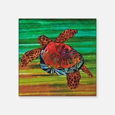 "Honu Sea Turtle Warm Brown  Square Sticker 3"" x 3"""