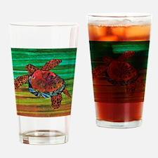 Honu Sea Turtle Warm Brown Green Drinking Glass