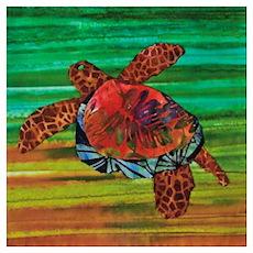 Honu Sea Turtle Warm Brown Green Poster