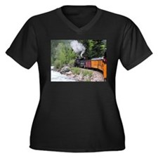 Steam train & river, Colorado Plus Size T-Shirt
