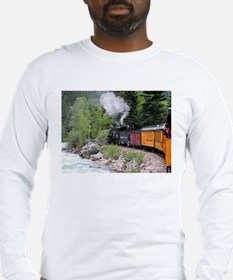 Steam train & river, Colorado Long Sleeve T-Shirt