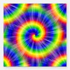 "Tie Dye Pattern Tiled Square Car Magnet 3"" x 3"""