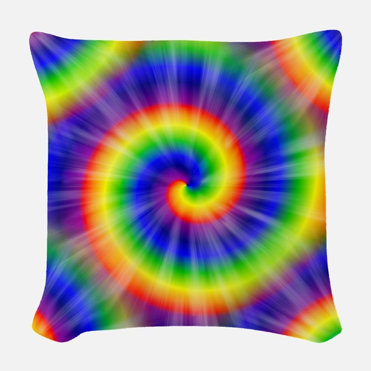 Tie Dye Pattern Tiled Woven Throw Pillow