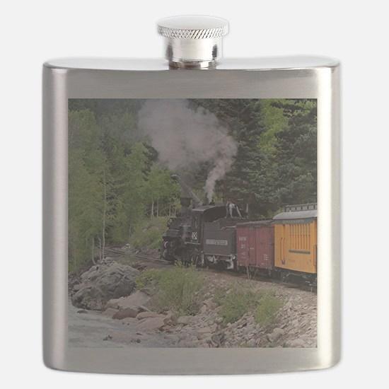 Steam train & river, Colorado Flask