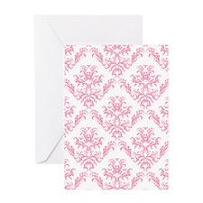 Pink Damask Pattern Greeting Cards